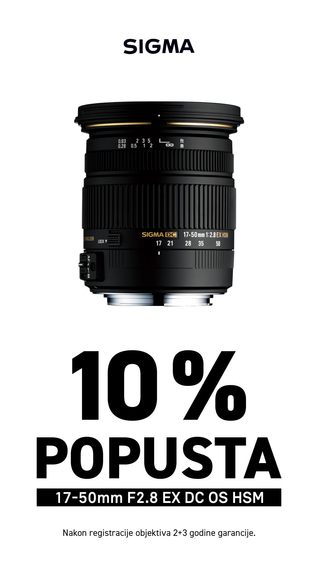 10% popusta na Sigma 17-50mm objektiv