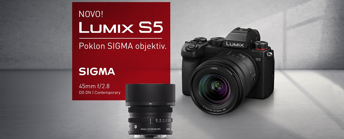 Uz novi Panasonic Lumix S5 gratis Sigma 45mm f/2.8 DG DN objektiv gratis!