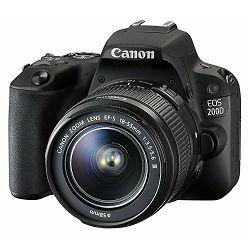 Canon EOS 200D + 18-55 DC III Black DSLR Digitalni fotoaparat i standardni zoom objektiv EF-S 18-55mm f/4-5.6 (2250C011AA) - CASH BACK promocija povrat novca u iznosu 400 kn