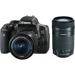 Canon EOS 750D + 18-55 IS STM IS STM + 55-250 IS DSLR digitalni fotoaparat + objektiv 18-55mm f/3.5-5.6 IS STM i EF-S 55-250mm 4-5.6 IS STM Lens (AC0592C085AA) promocija povrat novca