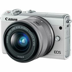 Canon EOS M100 + 15-45 IS STM + 22mm STM White Mirrorless Digitalni fotoaparat EF-M 15-45mm 3.5-6.3 i EF-M 22mm f/2 F2 F2.0 (2210C032AA)
