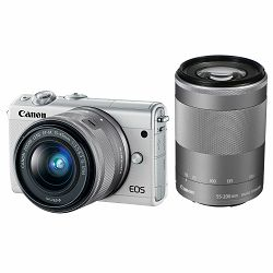 Canon EOS M100 + 15-45 IS STM + 55-200 IS STM White Mirrorless Digitalni fotoaparat EF-M 15-45mm 3.5-6.3 i 55-200mm 4.5-6.3 (2210C022AA)