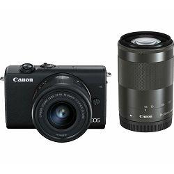 Canon EOS M200 + 15-45 IS STM + 55-200 IS STM Black Mirrorless Digital Camera crni Digitalni fotoaparat s dva objektiva EF-M 15-45mm 3.5-6.3 i 55-200mm 4.5-6.3 (3699C030AA) - CB PROMOTION