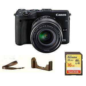 Canon EOS M3 + 18-55 STM Black Premium Kit (SanDisk Extreme 16gb 80Mbs + futrola) 9694B074AA - GetReady AKCIJA
