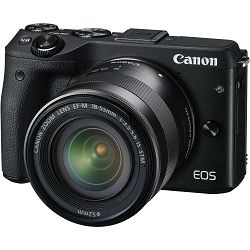 Canon EOS M3 + 18-55 IS STM Black crni Mirrorless Digital Camera Digitalni fotoaparat s objektivom M18-55S EF-M 18-55mm (9694B012AA)