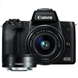 Canon EOS M50 + 15-45 IS STM + 22mm STM KIT Black Mirrorless Digitalni fotoaparat EF-M 15-45mm 3.5-6.3 i EF-M 22mm f/2 F2 F2.0 (2680C073AA)
