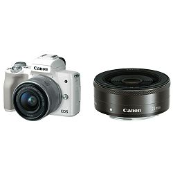 Canon EOS M50 + 15-45 IS STM + 22mm STM KIT White Mirrorless Digital Camera bijeli Digitalni fotoaparat s dva objektiva EF-M 15-45mm 3.5-6.3 i EF-M 22mm f/2 F2 F2.0 (2681C067AA)