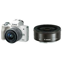 Canon EOS M50 + 15-45 IS STM + 22mm STM KIT White Mirrorless Digital Camera bijeli Digitalni fotoaparat s dva objektiva EF-M 15-45mm 3.5-6.3 i EF-M 22mm f/2 F2 F2.0 (2681C067AA)