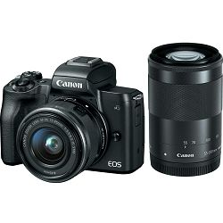 Canon EOS M50 + 15-45 IS STM + 55-200 IS STM Black Mirrorless Digital Camera crni Digitalni fotoaparat s dva objektiva EF-M 15-45mm 3.5-6.3 i 55-200mm 4.5-6.3 (2680C072AA)