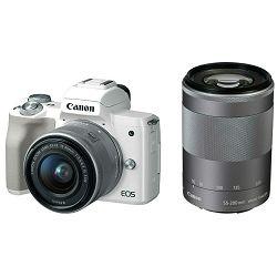 Canon EOS M50 + 15-45 IS STM + 55-200 IS STM White Mirrorless Digital Camera bijeli Digitalni fotoaparat s dva objektiva EF-M 15-45mm 3.5-6.3 i 55-200mm 4.5-6.3 (2681C066AA)