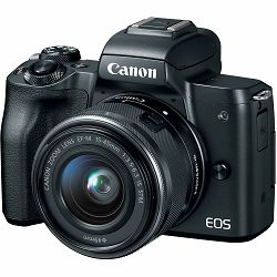 Canon EOS M50 + 15-45 IS STM Black Mirrorless Digital Camera crni Digitalni fotoaparat s objektivom EF-M 15-45mm 3.5-6.3 (2680C070AA) - CASH BACK promocija povrat novca u iznosu 370 kn