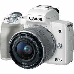 Canon EOS M50 + 15-45 IS STM White Mirrorless Digital Camera bijeli Digitalni fotoaparat s objektivom EF-M 15-45mm 3.5-6.3 (2681C064AA)