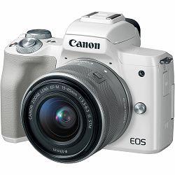 Canon EOS M50 + 15-45 IS STM White Mirrorless Digital Camera bijeli Digitalni fotoaparat s objektivom EF-M 15-45mm 3.5-6.3 (2681C064AA)