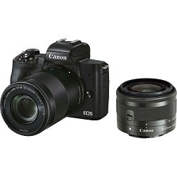 Canon EOS M50 Mark II + EF-M 15-45mm f/3.5-6.3 IS STM + EF-M 55-200mm f/4.5-6.3 IS STM Black Mirrorless Camera bezrcalni fotoaparat (4728C041AA) - CB PROMOTION