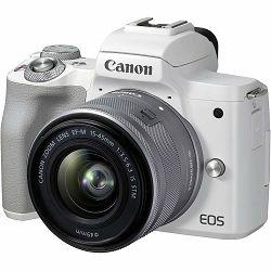 Canon EOS M50 Mark II + EF-M 15-45mm f/3.5-6.3 IS STM White Mirrorless Camera bezrcalni fotoaparat (4729C028AA) - CB PROMOTION