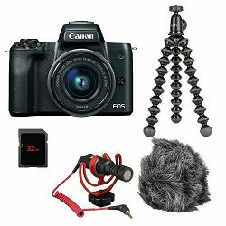 Canon EOS M50 Mark II + EF-M 15-45mm f/3.5-6.3 IS STM Vlogger Kit Rode Video Mikrofon + Joby Gorilla Tripod 1K + SD 32GB (4728C050AA) - CB PROMOTION
