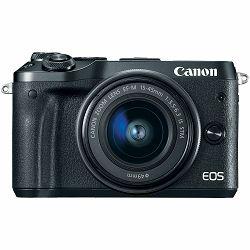 Canon EOS M6 + 15-45 IS STM + 55-200 IS Silver DZ Double zoom KIT Mirrorless Digital Camera with two lens srebreni Digitalni fotoaparat i objektivi EF-M 15-45mm f/3.5-6.3 55-200mm