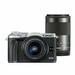 Canon EOS M6 + 15-45 IS STM + 55-200 IS Silver Double zoom KIT Mirrorless Digitalni fotoaparat i objektivi EF-M 15-45mm f/3.5-6.3 55-200mm (1725C032AA)
