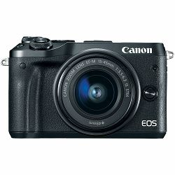 Canon EOS M6 + 15-45 IS STM Black Mirrorless Digital Camera with lens crni Digitalni fotoaparat i objektiv EF-M 15-45mm f/3.5-6.3 (1724C012AA)