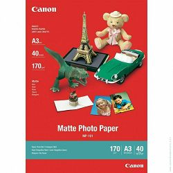 Canon Photo Paper Matte MP-101 29.7x42cm A3 40 listova foto papir za ispis fotografije Mat 170gsm ISO93 0.22mm 40 sheets MP101A3 (BS7981A008AA)