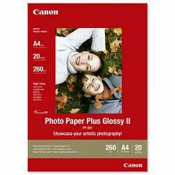 Canon Photo Paper Plus Glossy II PP-201 21x29.7cm A4 20 listova foto papir za ispis fotografije Gloss 265gsm ISO92 0.27mm A4 20 sheets PP201A4 (BS2311B019AA)