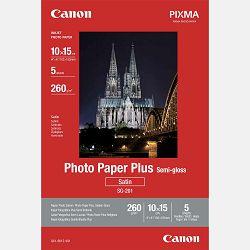 Canon Photo Paper Plus Semi-Gloss SG-201 10x15cm 5 listova foto papir za ispis fotografije Satin 260gsm ISO91 0.26mm 4x6