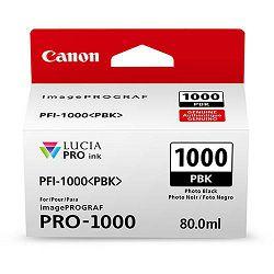 Canon Pigment Ink Tank PFI-1000 Lucia PRO Photo Black 80ml PFI1000B foto crna tinta za printer imagePROGRAF PRO-1000 (0546C001AA)
