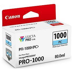 Canon Pigment Ink Tank PFI-1000 Lucia PRO Photo Cyan 80ml PFI1000PC foto cijan zeleno-plava tinta za printer imagePROGRAF PRO-1000 (0550C001AA)