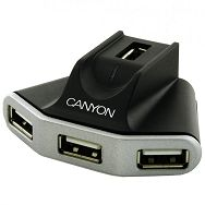 CANYON CNR-USBHUB05N 4 Port USB2.0 HUB with 1.5 meter extension USB cable, Black/Silver