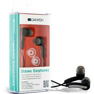 Canyon stereo earphone CNR-EP01N , color:  black ; 2 sizes of silicon ear-plugs to ensure a perfect fit, noise-isolating ear-bud style headphones