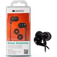 Canyon stereo earphone CNR-EP10NB , color: black ; 2 sizes of silicon ear-plugs to ensure a perfect fit