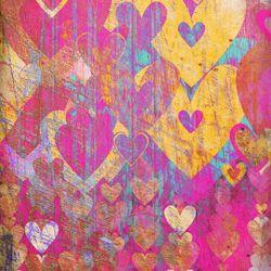 Click Props Background Vinyl with Print Hearts Golds 1,52x1,52m studijska foto pozadina s grafikom