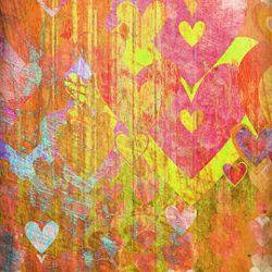 Click Props Background Vinyl with Print Hearts Yellow 1,52x1,52m studijska foto pozadina s grafikom