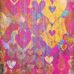 Click Props Background Vinyl with Print Hearts Golds 1.52x2.44m studijska foto pozadina s grafikom