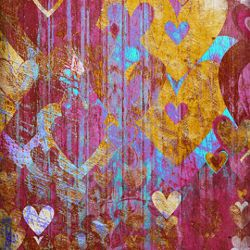 Click Props Background Vinyl with Print Hearts Brown 1.52x2.44m studijska foto pozadina s grafikom