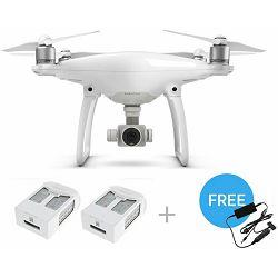 DJI Phantom 4 with Two Extra Batteries (Quadcopter dron + 4K kamera + 3D gimbal + 2x dodatne baterije) + gratis dodatno auto punjač
