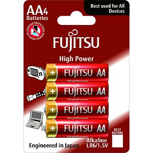 Fujitsu 4x LR6 alkalne baterije LR6(4B)FH alkaline batteries High Power Series