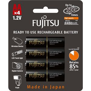Fujitsu baterije Black 4xAA 2450mAh HR-3UTHCEX (4B)