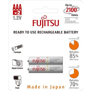 Fujitsu baterije White 2xAAA 750mAh HR-4UTCEX (2B)