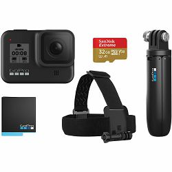GoPro HERO8 Black Bundle kamera + Shorty + Head Strap + microSD 32GB (CHDRB-801)