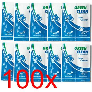 Green Clean Lens Cleaner - Wet & Dry LC-7010-100 Sachet 100 pc. hang box