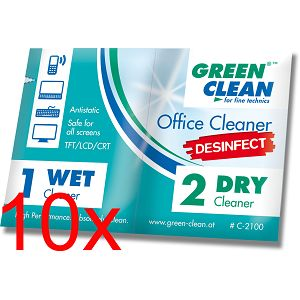 Green Clean Office Cleaner pre sauked wipes Desinfect C-2100-10 Wet & Dry set od10 komada