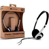 Headphones CANYON CNF-HP01 (Dynamic, 20Hz-20kHz, Cable, 1.8m) Silver/Black, Retail