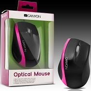 Input Devices - Mouse CANYON CNR-MSO01N (,Cable, Optical 800dpi,3 btn,USB), Black/Pink