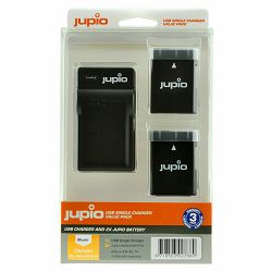 Jupio KIT 2x Battery EN-EL14 EN-EL14A 1100mAh + USB Single Charger komplet punjač i dvije baterije za Nikon D5300, D5200, D3400, D3300, D3200 Coolpix P7800 (CNI1001)