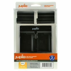 Jupio KIT 2x Battery EN-EL15 1700mAh + USB Dual Charger komplet punjač i dvije baterije za Nikon D750, D500, D810, D610, D600, D7200, D7100, D7000, D800, D810A, D800E, 1 V1 CNI1004
