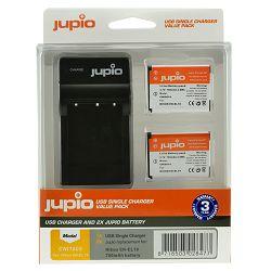 Jupio KIT 2x Battery EN-EL19 + USB Single Charger komplet punjač i dvije baterije za Nikon Coolpix S2800, S2900, S3100, S32, S33, S3300, S3500, S3600, S3700, S4300, S5300, S6800, S6900, S7000