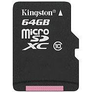 Kingston 64GB microSDXC Class 10 Flash Card Single Pack w/o Adapter