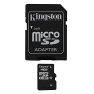 KINGSTON Memory ( flash cards ) 4GB Micro SDHC Class 10, Plastic, 1pcs with SD adapter