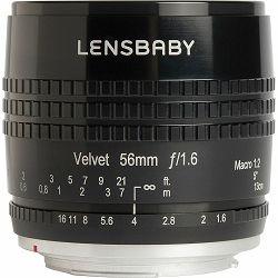 Lensbaby Velvet 56mm f/1.6 macro 1:2 portretni objektiv za Nikon F (LBV56BN)